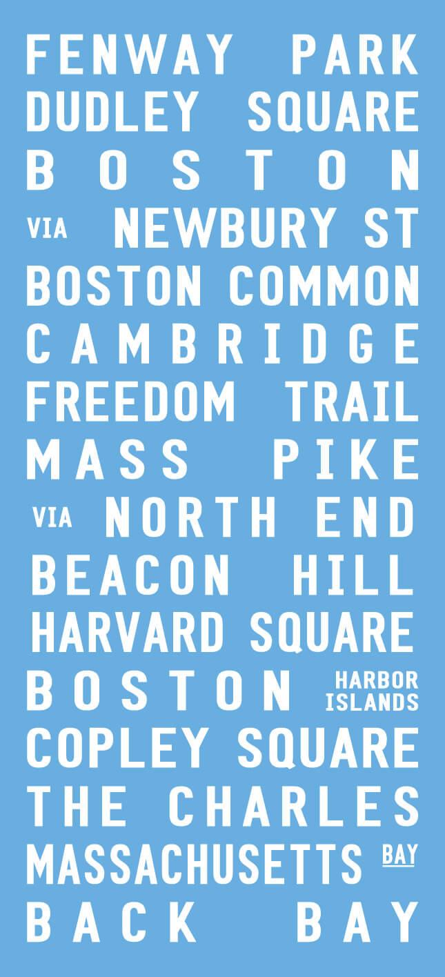 Boston City Bus Tram Destination Sign Wall Art