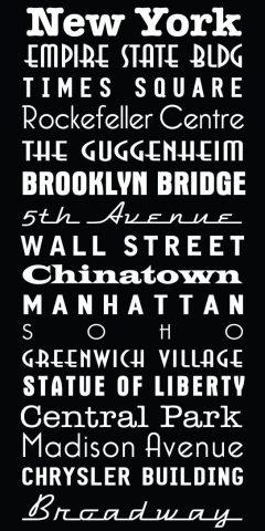 New York City Multi Font Custom Subway Sign Art