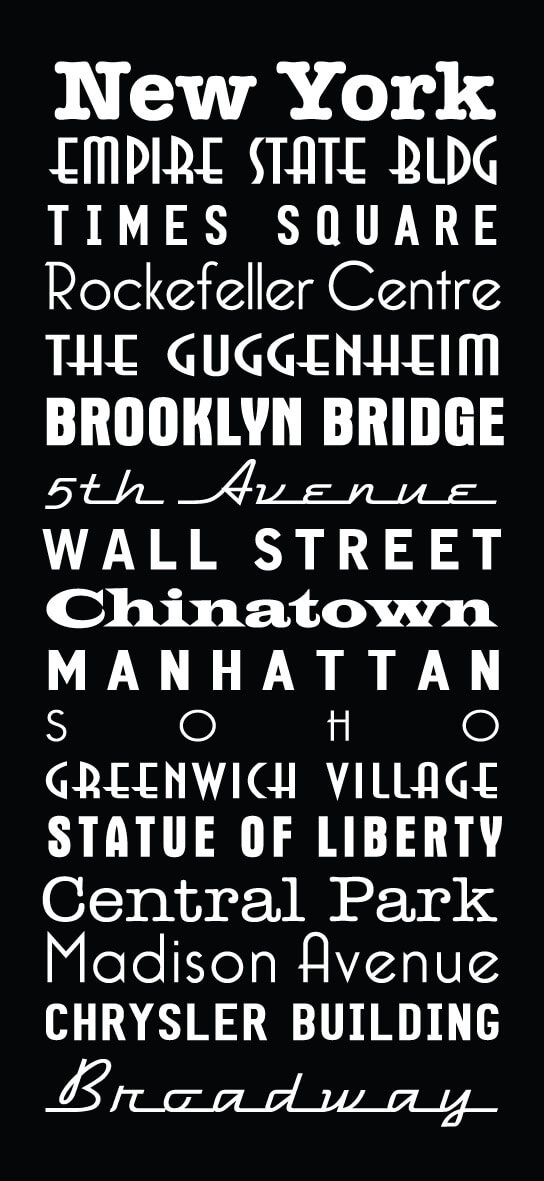 New York City Multi Font Custom Subway Sign Art