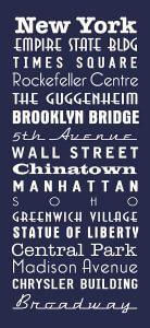 New York Navy Blue Bus Scroll