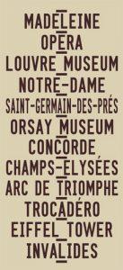 Paris Madeleine to Invalides via Champs Elysees Word Art