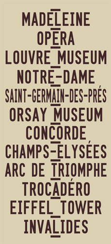 Paris Madeleine to Invalides via Champs Elysees Word Art