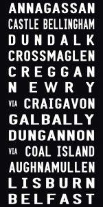 Belfast Tram Destination Word Art on Canvas
