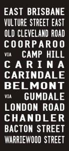 East Brisbane to Bacton Street Vintage Tram Scroll Word Art
