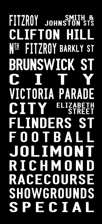 Vintage Fitzroy to the Racecourse via Flinders Street Canvas Word Art