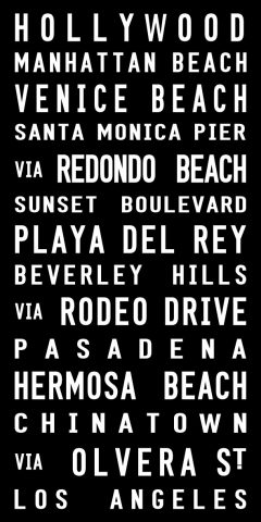 Hollywood Scroll Contemporary Black & White Word Art Canvas Print