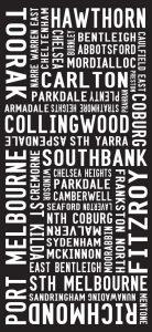 Melbourne Suburbs Modern Big Stretched Canvas Artwork