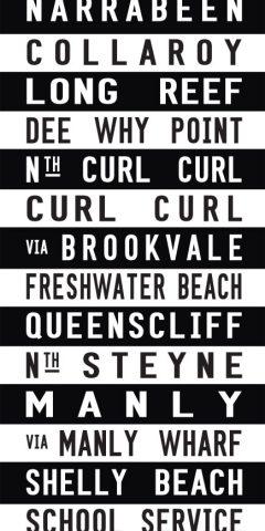 Narrabeen to Shelly Beach via Curl Curl Striped Tram Scroll Canvas Wall Art