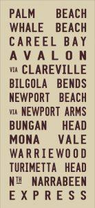 Palm Beach Vintage Tram Scroll Canvas Word Art