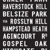Primrose Hill via Belsize Park London Bus Destination Art