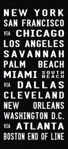 US Cities Flight Destination Art Sign Scroll