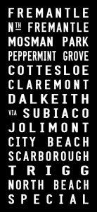 Fremantle to Trigg via Dalkeith Tram Destination Roll Word Art
