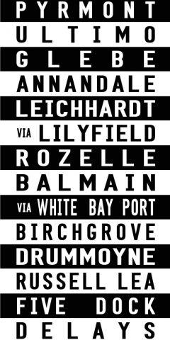Pyrmont to Five Dock Tram Scroll Word Art