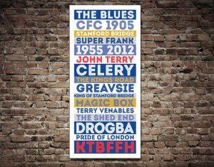 Chelsea FC Legends Blue Retro Tram Sign