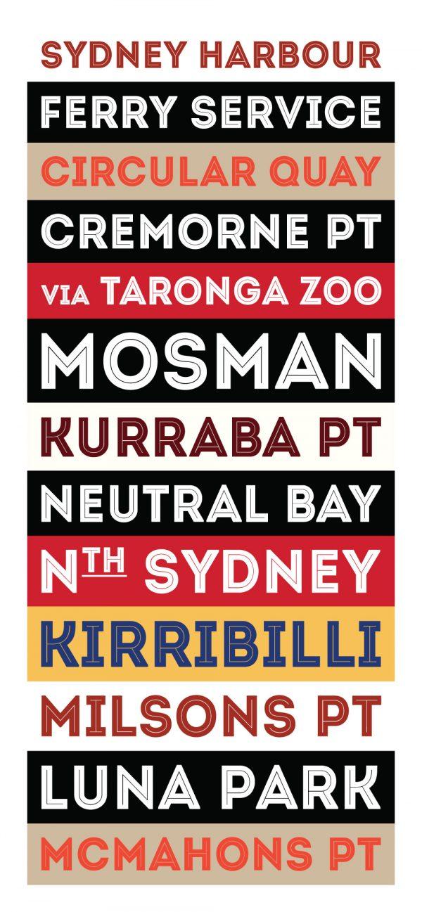 Sydney Harbour Ferry Service Retro Wall Art